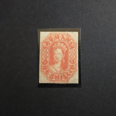 1858 Watermark Double-Lined Numerals Imperf 1/- Vermilion Part Original Gum With RPSL Certificate SG 41