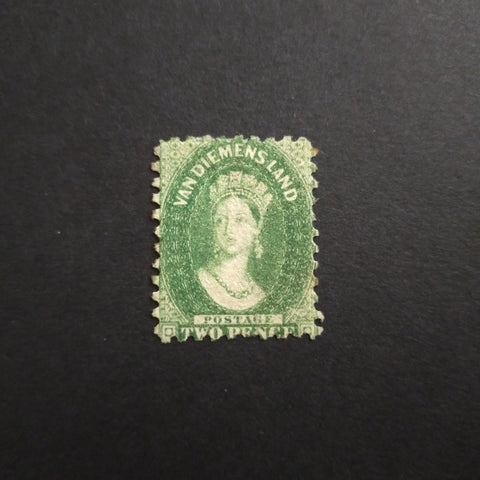 1863-71 Watermark Double-Lined Numerals Perf 10 2d Yellow-Green Part Original Gum, Scarce SG 60