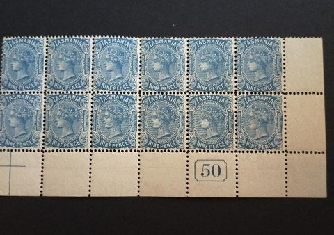 1906-09 Watermark Crown Over Double-Lined A (inverted) 9d Blue Block of 12 With Different Perfs SG 256/b