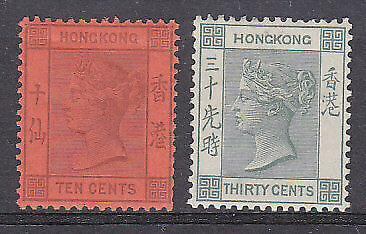Hong Kong China Queen Victoria SG 38/9 10c purple/red and 30c green Mint hinged.