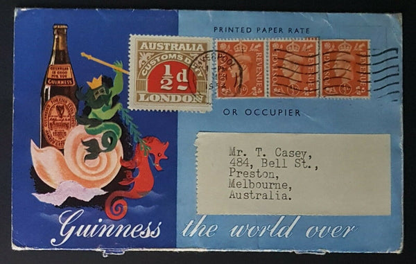 GB KGV1 Guinness advertising cover to Australia with Customs Duty stamp. Lovely