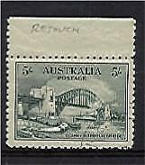 Australia SG 143 5/- Sydney Harbour Bridge Retouch over bridge variety. VF Stamp