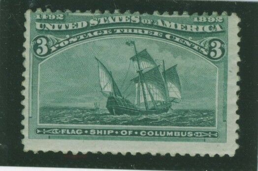 USA Scott# 232 3c green Columbus Mint Unhinged