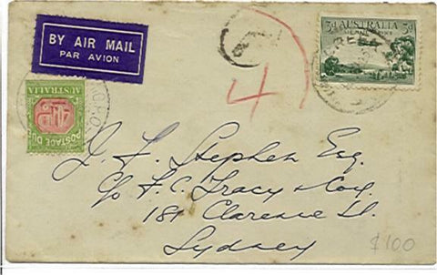 Australia 3d airmail Cover with 4d postage due stamp  ? Creek to Sydney