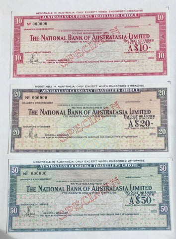 1972 Australia National $10, $20 & $50 Travellers Cheque Overprinted Specimen