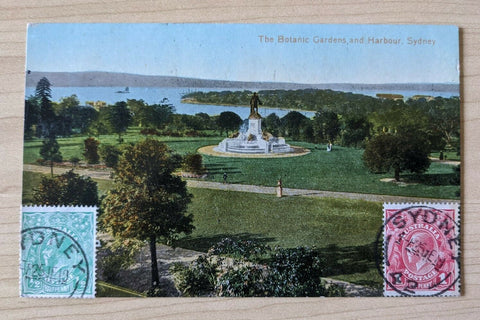 Australia Postcard- Botanic Gardens and Harbour Sydney, With KGV ½d,1d to France
