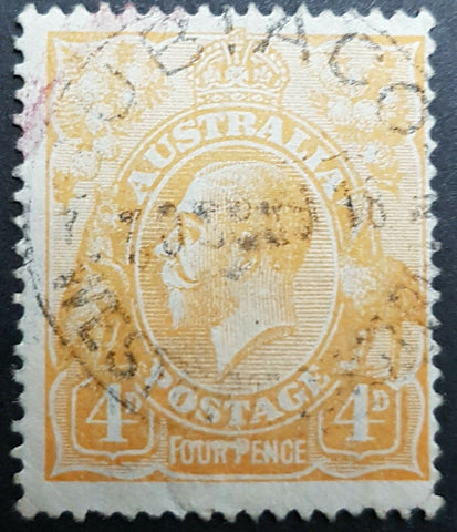 "Australia SG 22e 4d Orange KGV Line through ""FOUR PENCE""  Used"