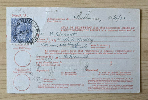 Australia Avis De Reception Postcard with1½d KGV Stamp Melbourne - Caulfield