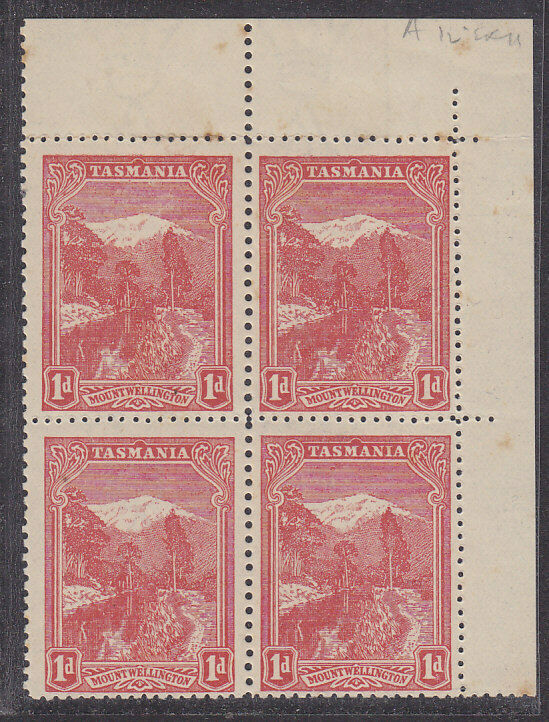 Tasmania SG 250hb 1d mountain Pictorial compound Perf 12½ and 11  MUH block of 4