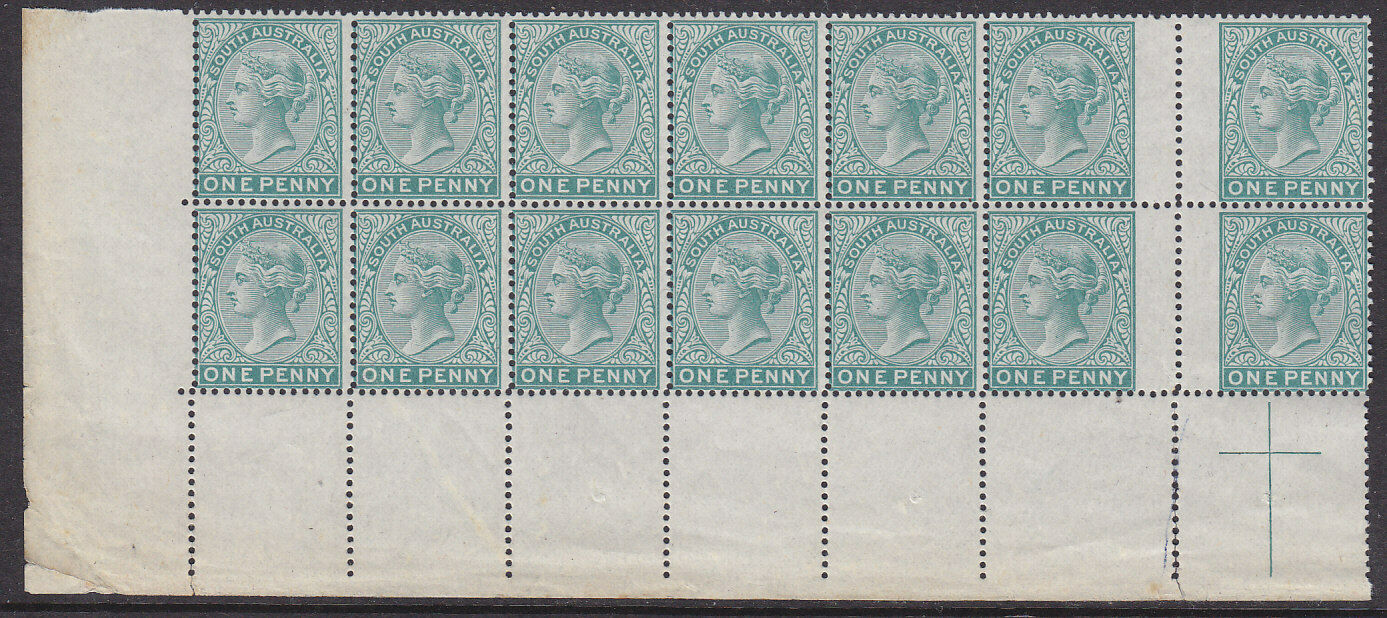 SA Australian States 1875 1d blue-green No wmk Proof in block of 14 MUH