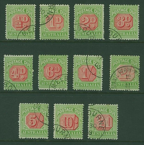 Australia postage dues SG D63-73 Set superb used with stunningly vivid colours