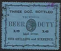Victoria Australian states revenue label 1892 Beer Duty 1/6 black on blue Used