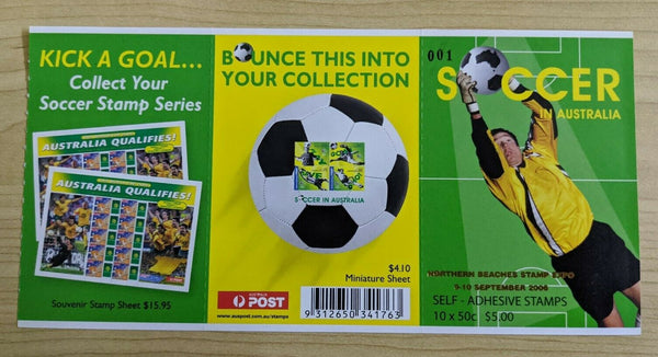 Soccer In Australia 50c Self Adhesive Stamp Booklet Expo Overprinted 001