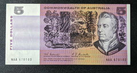 1967 R202F $5 Commonwealth of Australia Coombs/Randall First Prefix Banknote