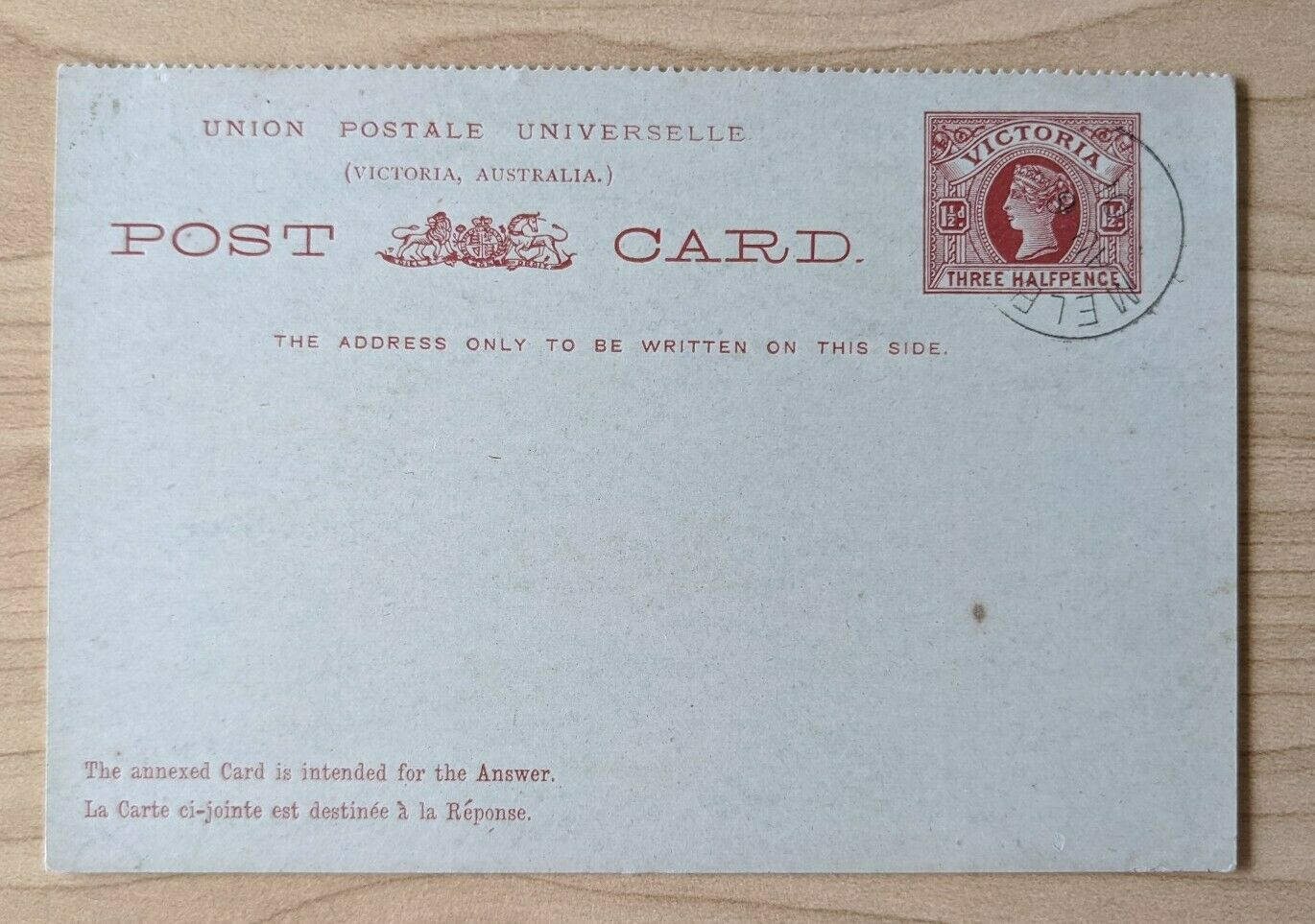 Victoria Australian States 1½d Reply Post Card postal stationery CTO Melb PC20