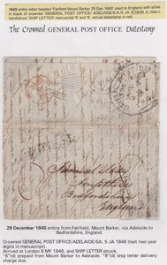 SA 1845 pre stamp Entire Fairfield Mount Barker to England with black crown canc