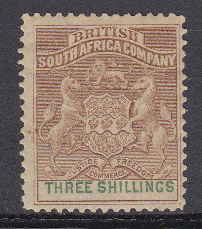 British South Africa SG 25 3/- Brown and green Mint Hinged Stamp