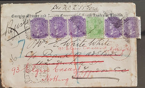 SA, GB, 5½d Registered 1904 cover readdressed to Notting Hill, per SS Gera