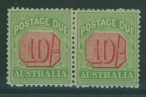 Australia postage dues SG D72 10/- Rosine and Yellow-green in scarce pair MLH
