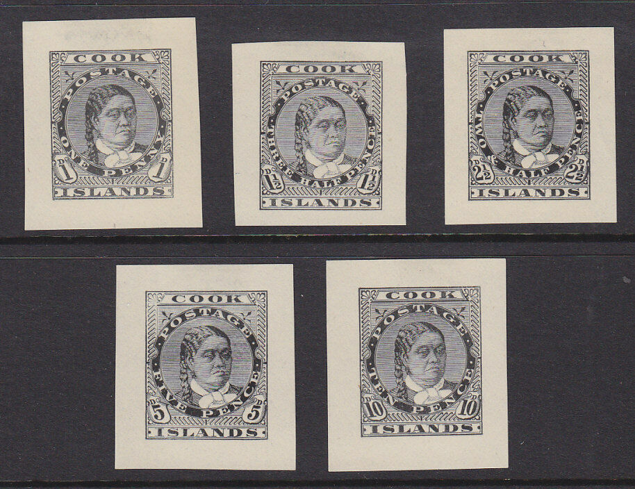 Cook Islands Pacific Islands New Zealand 1893 Set of 5 Proofs of Queen Makea