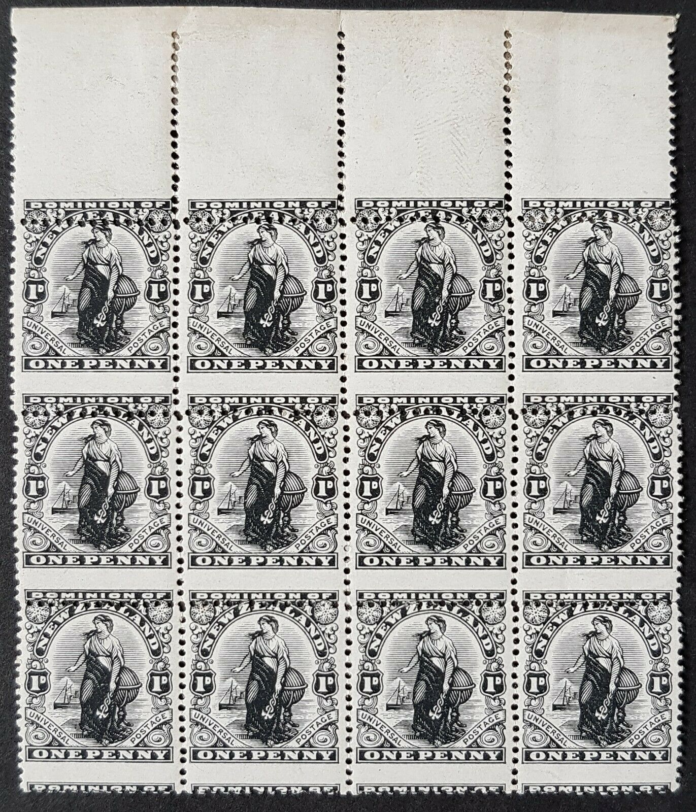 NZ New Zealand 1d Universal Black Plate Proof BLOCK OF 12 on watermarked paper