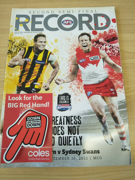2011 AFL Second Semi-Final Hawthorn V Sydney Football Record