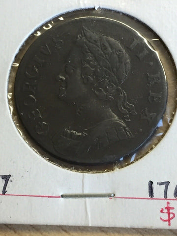 1754 UK Great Britain George 11 Halfpenny Coin