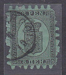 Finland Michel 6B  8p black on green. Used