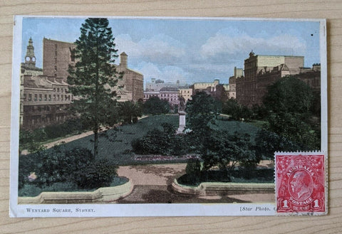 Australia - France Postcard Wynyard Square Sydney NSW used with 1d red KGV