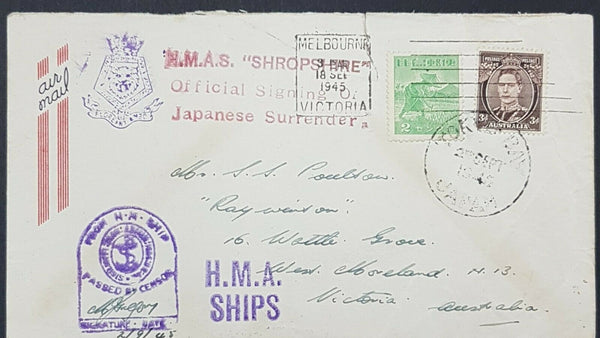 Australia Philippines Japanese Surrender censored Navy cover HMAS Shropshire