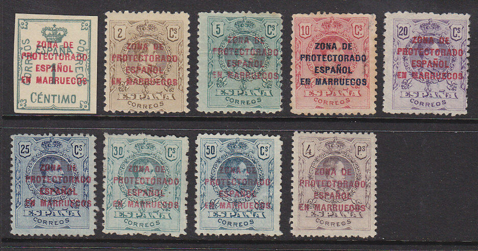 Spanish Morocco on Spain SG 69-80, 9 values from 1c to 4p Mint Hinged.