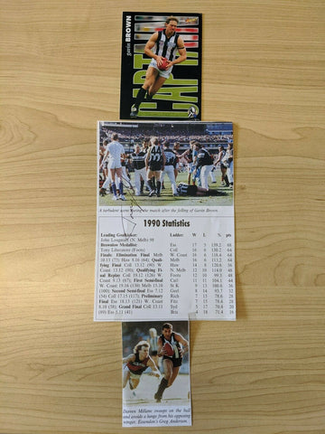VFL Collingwood Football Club 1990 Grand Final Statistics Signed Gavin Brown