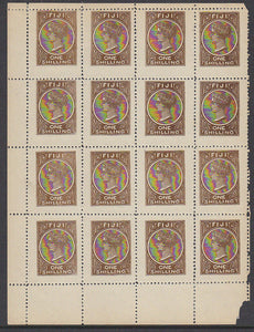 Fiji Pacific Islands 1/- Queen Victoria stamp pane of 16 The Fournier forgery