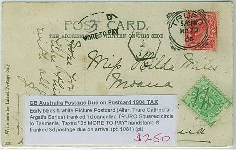 GB - Tasmania postcard Truro cathedral and 3d Australia blank tablet postage due