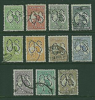 Australia SG O1/O11 Kangaroo Perforated Large OS Set of 11 to 2/- Brown used