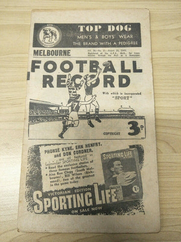 1949 August 20 Melbourne v Essendon Football Record
