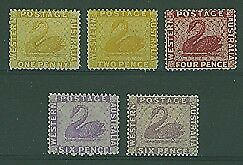 WA Australian States SG 76-80 1d - 6d (5) Swan birds MLH but one 6d has no gum