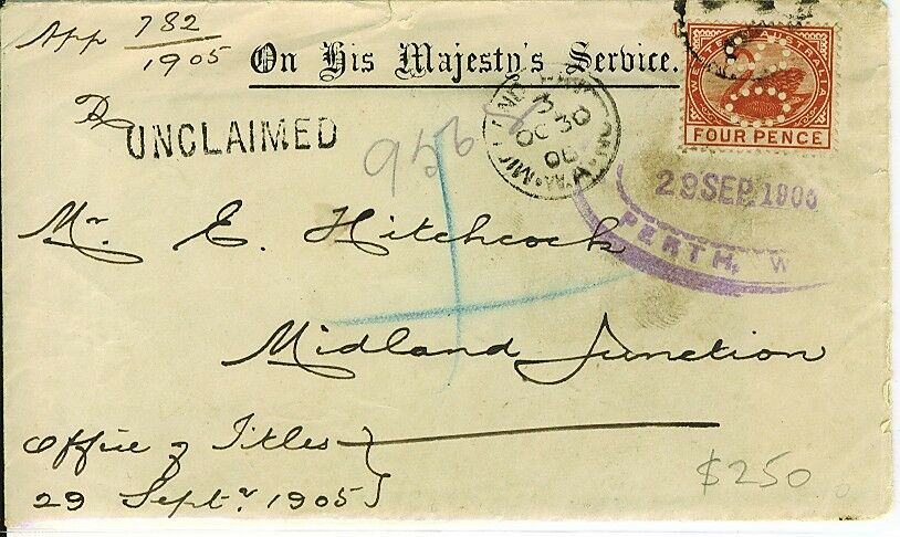 WA Western Australia Unclaimed Office of Titles registered cover with 4d OS swan