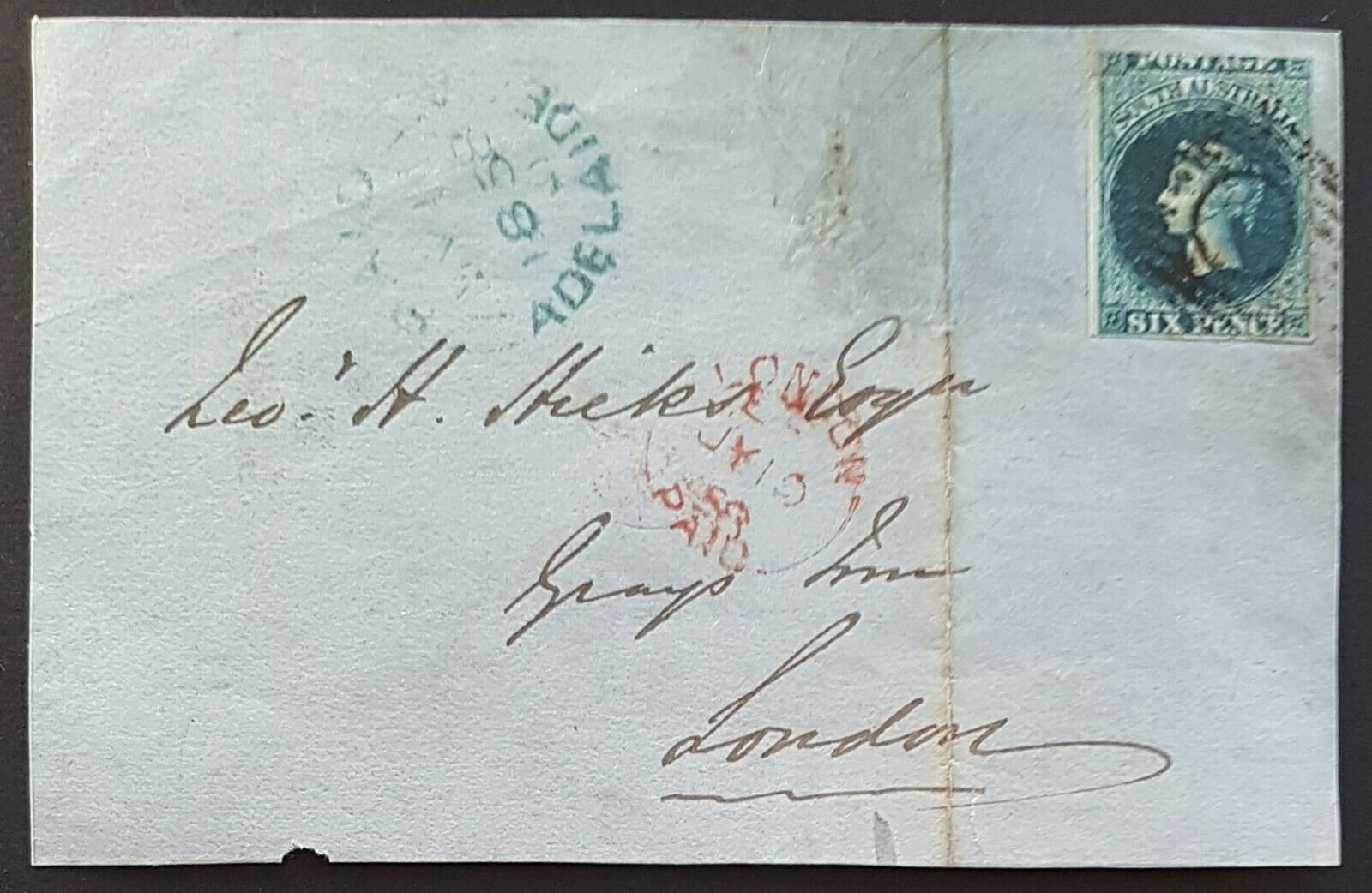 SA, Australian States, GB, 1858 6d imperforate Front Adelaide - London. SG 3
