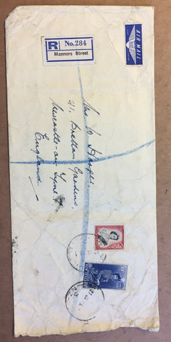 New Zealand  1954 10/-  Blue Queen Elizabeth II on Registered Cover To England