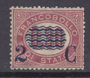 Italy SG 26  2c on 30c red Mint no gum