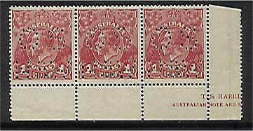 "Australia KGV SG 054 ? 1d Red Die 1, perforated ""OS NSW"" in strip of 3  MLH"