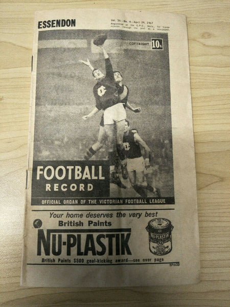 1967 April 29 Football Record Essendon v Collingwood