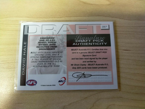 2002 Select SPX Gold Draft Signature Card David Hale North Melbourne DS7