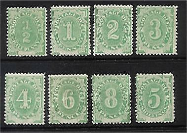 Australia postage dues SG D1/8 Set of 8 to 5/- Emerald-green. SUPERB  MLH