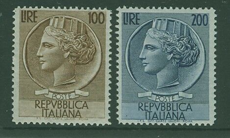 Italy SG 845-846 1953 100L brown and 200L blue MUH