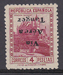 Tangier Spanish Colonies Spain SG 114 4p mauve with inverted overprint Error MLH