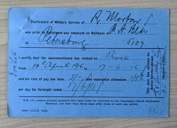 Australia 1d red KGV WWI Military Mail from Camp Mitcham to Paymaster SA Railway