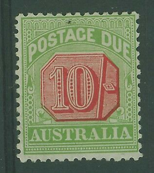 Australia postage dues SG D72 10/- rosine and yellow-green  MLH