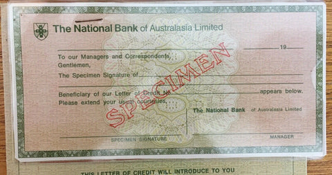 1970s National Bank of Australia Travellers Cheque Overprinted Specimen